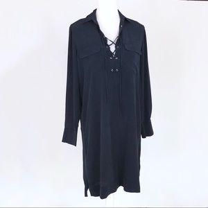 Club Monaco silk navy blue lace-up dress 4